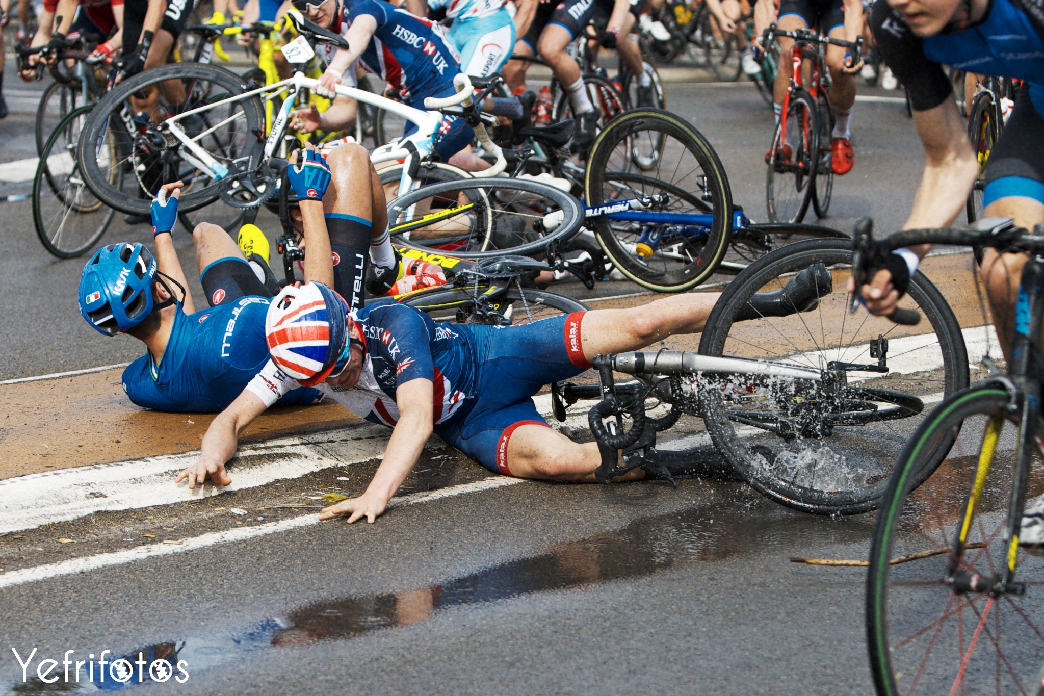 Tidball crash Team GB Paris Roubaix